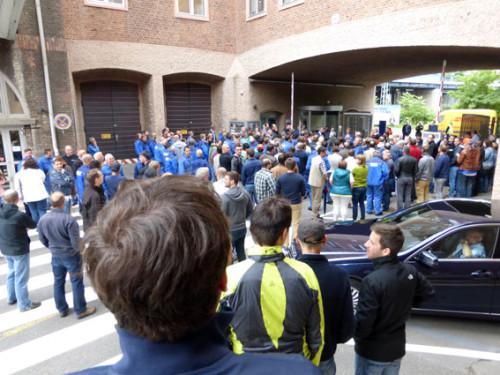 Toraktion bei ALSTOM Mannheim anläßlich des Besuchs des Oberbürgermeisters der Quadratestadt am 19. Juni 2015, Foto: Avanti²