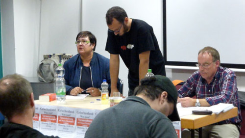 """Griechenland-Veranstaltung des Aktionsbündnisses """"Wir zahlen nicht für eure Krise!"""", Gewerkschaftshaus Mannheim, 22. September 2015, Foto: Avanti²"""