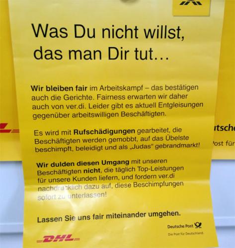 Einschüchterungsversuche der Deutschen Post AG während des Poststreiks im Juni 2015., Foto: Avanti²