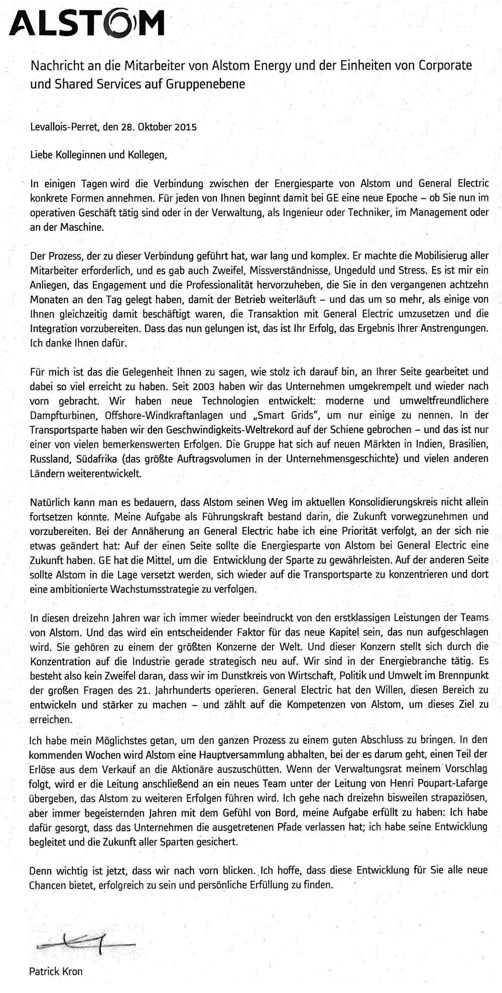 Nachricht Alstom an Mitarbeiter