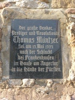 Gedenkplatte in Bad Frankenhausen für Thomas Müntzer.  Bauernkriegspanorama, Foto: Avanti²