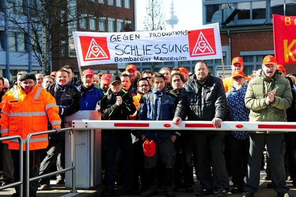 Protest bei Bombardier Mannheim 17.03.2016. Foto: helmut-roos@web.de