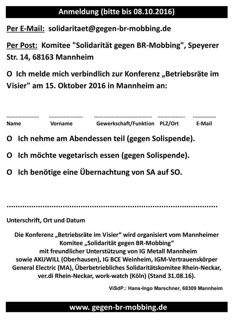Betriebsräte im Visier Bossing, Mobbing & Co 15.10.2016