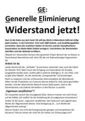 Flugblatt des RSB Rhein-Neckar vom 1.12.2016 zur aktuellen Situation bei GE in Käfertal, GE: Generelle Eliminierung jetzt!