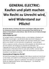 Flugblatt des RSB Rhein-Neckar vom 12.12.2016 zur aktuellen Situation bei GE