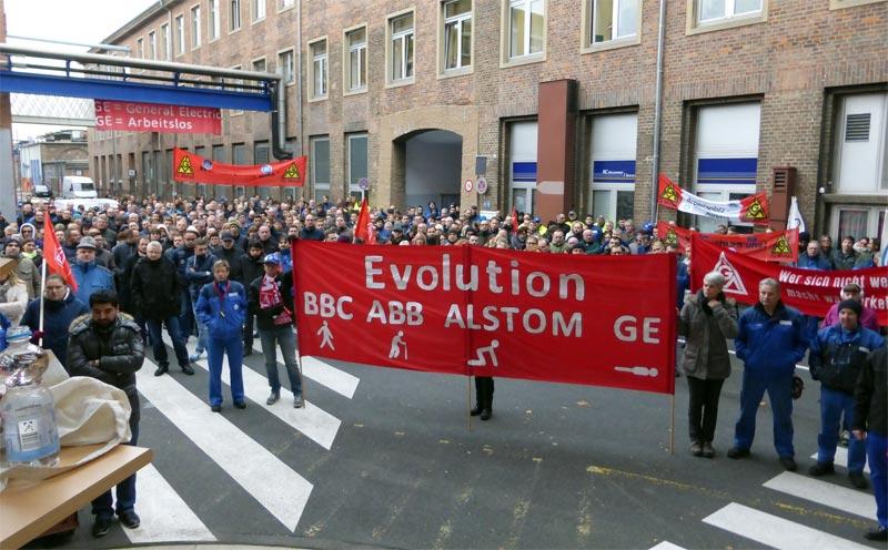 Protest-Kundgebung bei GE in Mannheim, 09. November 2016. Foto:Avanti²
