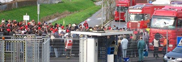 Torblockade bei Freudenberg in Weinheim, 19.01.2007. Foto: Privat.