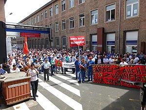 Erneuter Protest gegen Arbeitsplatzabbau bei GE Mannheim am 14. Juli. Foto: Avanti²