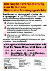 Veranstaltung zu Bundesverfassungsgerichturteil CETA
