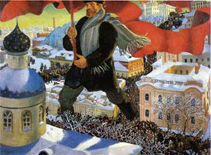 Achtung Ironie (?): Der Bolschewik, Ölgemälde von Boris Kustodijew (1920). Foto: Gemeinfrei
