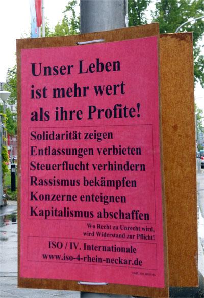 Plakat der ISO / IV. Internationale Rhein-Neckar am 01.05.2017 in Mannheim. Foto: Avanti²