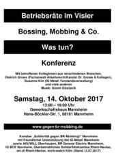 Faltblatt zur 4. Konferenz Betriebsräte im Visier am 14. Oktober 2017 in Mannheim.