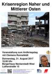 Flyer Veranstaltung zum Antikriegstag 2017 Mannheim