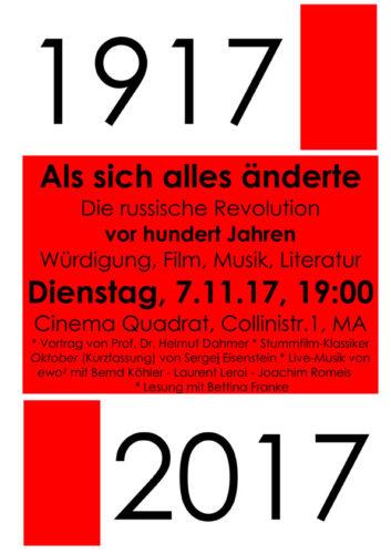 Plakat Veranstaltung Rhein-Neckar zur Oktoberrevolution 7.11.2017