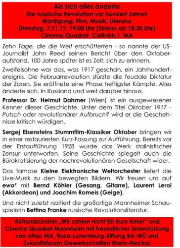 Plakat Veranstaltung Rhein-Neckar zur Oktoberrevolution 7.11.2017 - Seite 2
