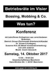 Plakat zur 4. Konferenz Betriebsräte im Visier