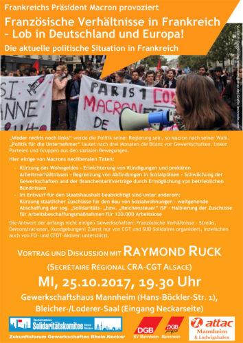 Flyer Attac- Veranstaltung Situation in Frankreich 25.10.17