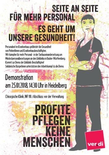 Plakat Demo 26.01.2018 Heidelberg - Profite pflegen keine Menschen.