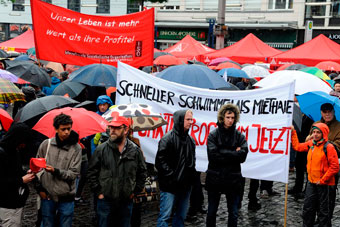 Verregnete DGB-Kundgebung in Mannheim, 01.05.2017. Foto: Helmut-Roos@web.de.