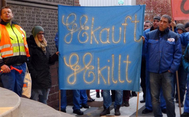 Protestaktion von GE-KollegInnen in Mannheim, 28. November 2016. Fot: Avanti².