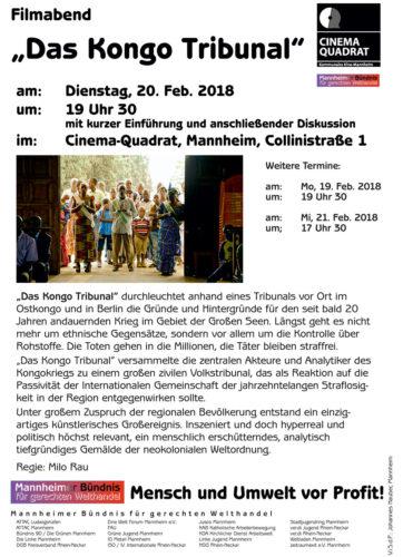 Filmabend - Das Kongo Tribunal - 20.01.2018- im Cinema Quadrat - Mannheim