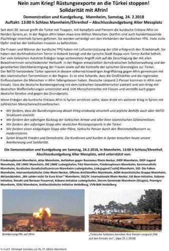 Demo Aufruf 24.2.18 Mannheim - Nein zum Krieg -Solidarität mit Afrin!