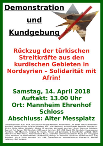 Der komplette Aufruf zum Download. Demoaufruf für den 14.4.18 in Mannheim  - Solidarität mit Afrin!