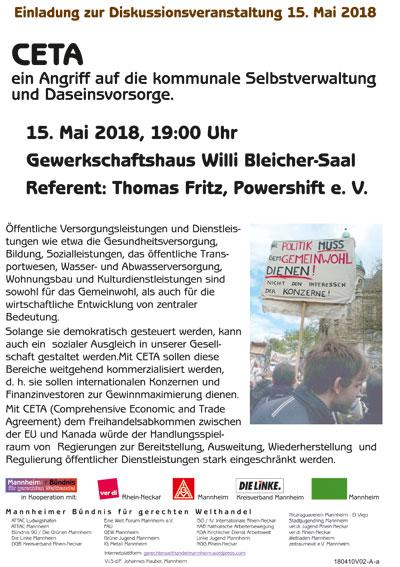 Das Flugblatt zum Download - Veranstaltung gegen CETA 15.5.2018 Mannheim.