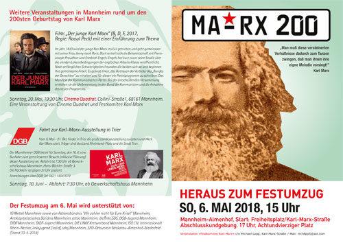 Flyer zum Festumzug MA-RX-200 am 6.5.2018 mit weiteren Veranstaltungen.