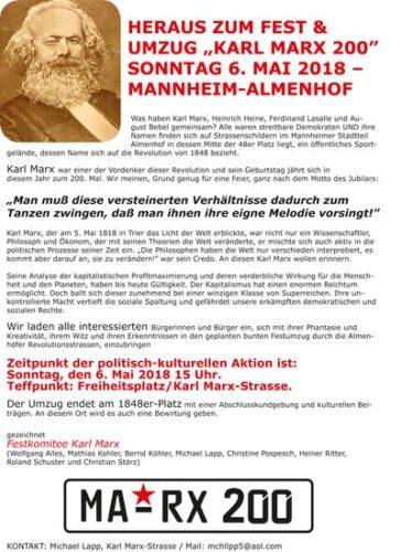"Aufruf zum Fest & Umzug ""Karl Marx 200"""