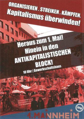 """Plakat: """"Heraus zum 1. Mai - Hinein in der ANTIKAPITALISTISCHEN BLOCK"""""""