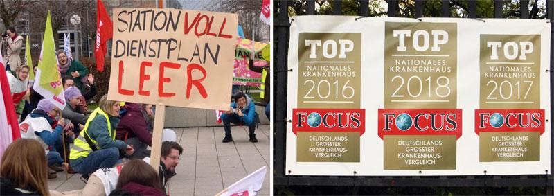Protest am 25. Januar 2018 gegen Pflegenotstand am Klinikum Heidelberg, und schöner Schein am Mannheimer Klinikum, 29.04.2018 (Foto: Avanti²)