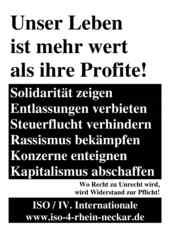 Flugblatt der ISO Rhein-Neckar zum 1. Mai 2018.
