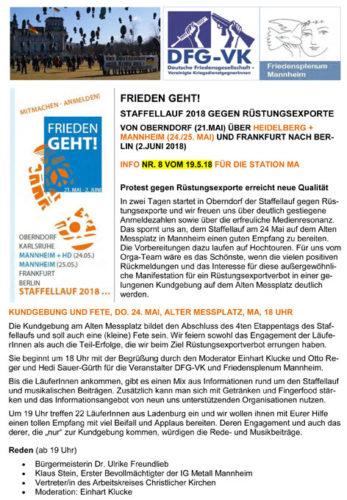 FRIEDEN GEHT!  Staffellauf 2018 gegen Rüstungsexporte  von Oberndorf (21.Mai) über HEIDELBERG + Mannheim (24./25. Mai) und Frankfurt nach Berlin (2.Juni 2018)