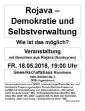 Veranstaltungsflugblatt 18.05.2018 in Mannheim.