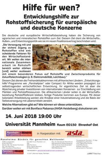 Veranstaltung 14.06.2018 in Mannheim - Hilfe für wen?