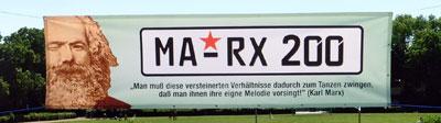 """Marx-Transparent in Mannheim, 6. Mai 2018. (Foto: """"Festkomitee Karl Marx"""")"""