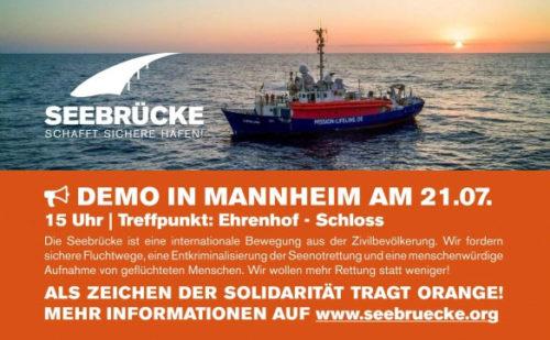 Seebrücke  Demo 21.07.18 in Mannheim 15:00 Uhr - Ehrenhof - Schloss