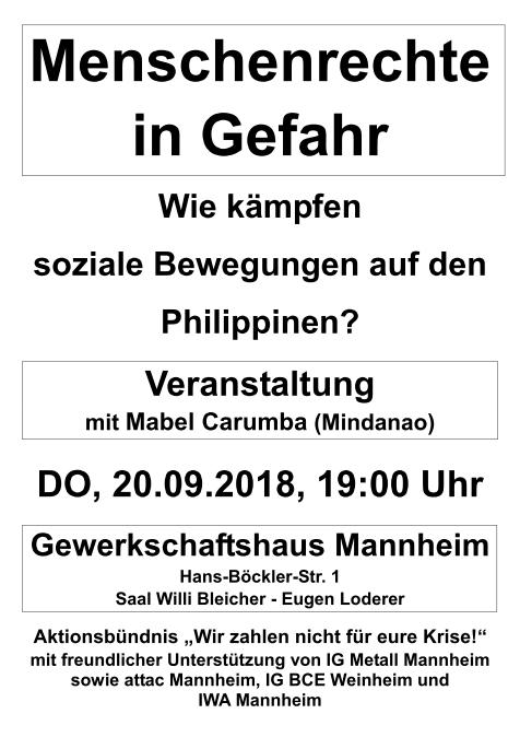 """Veranstaltung """"Menschenrecht in Gefahr"""" am 20.09.18"""