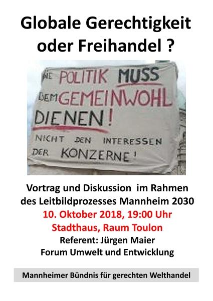"""Veranstaltung """"Globale Gerechtigkeit oder Freihandel?"""" am 10.10.18"""