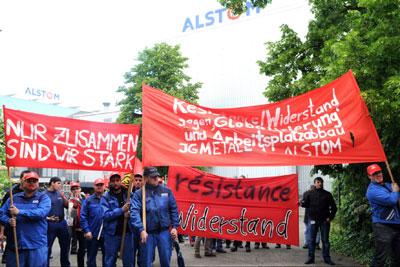Protest bei Alstom Mannheim, 13. Mai 2014
