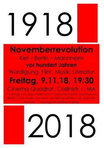 Veranstaltung am 09.11.2018 in Mannheim 100 Jahre Novemberrevolution