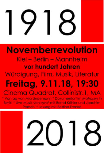 Veranstaltungsplakat: 1918 Novemberrevolution