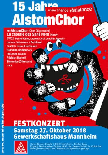 Ankündigung Festkonzert 15 Jahre AlstomChor am 27.10.2018