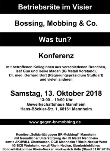 """Einladungsflyer zur 5. Konferenz """"Betriebsräte im Visier"""""""