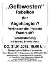 """Flyer zur Veranstaltung """"Gelbwesten"""" am 31.01.19"""