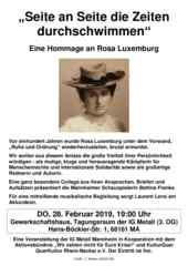 Einladungsflugblatt zur Hommage an Rosa Luxemburg am 28.02.2019