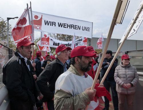 Protest gegen Arbeitsplatzabbau in Weinheim, 27. April 2017 (Foto: Avanti²)