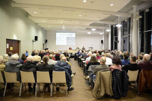 Vollbesetzter Saal bei der BBC-Veranstaltung im Mannheimer Gewerkschaftshaus, 19. Februar 2019 (Foto: helmut-roos@web.de)