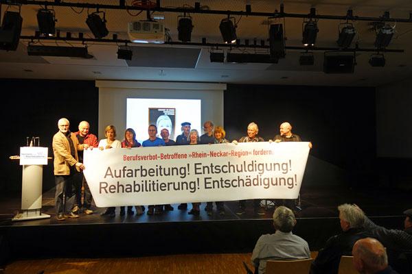 Forderungen der Berufsverbot-Betroffenen aus der Rhein-Neckar-Region in Mannheim, 20. März 2019 (Foto: Privat)